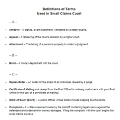 Definitions of Terms Used in Small Claims Court12-7-14