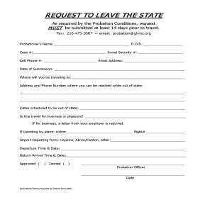 Request to Leave State