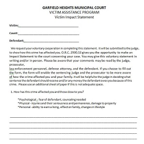 Victim Impact Statement Survivors Network. Forms Garfield Heights Municipal  Court